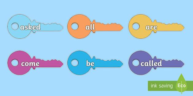 Tricky Words on Multicoloured Keys - tricky words, multicoloured, keys, display