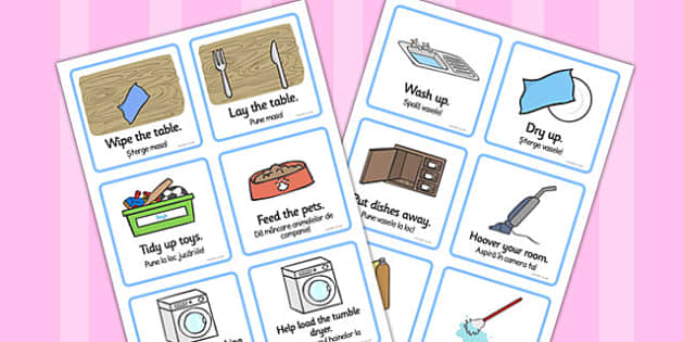 SEN Communication Cards Household Chores Romanian Translation - romanian