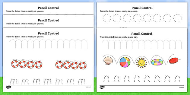 Summer Pencil Control Sheets - seasons, fine motor skills