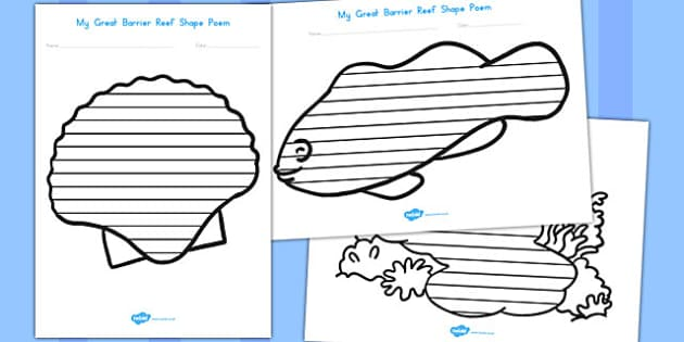 Great Barrier Reef Shape Poetry - australia, great, barrier, reef