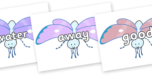 Next 200 Common Words on Blue Butterfly to Support Teaching on The Crunching Munching Caterpillar - Next 200 Common Words on  - DfES Letters and Sounds, Letters and Sounds, Letters and sounds words, Common words, 200 common words