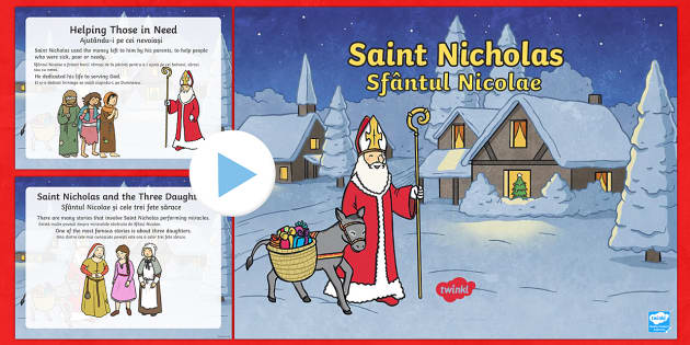 KS1 Saint Nicholas Facts PowerPoint English/Romanian - Christmas, Nativity, Jesus, xmas, Xmas, Father Christmas, Santa, saint, Saint Nicholas, patron, sail
