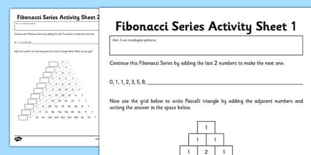 Fibonacci Numbers Activity Sheet fibonacci numbers activity – Activity Series Worksheet
