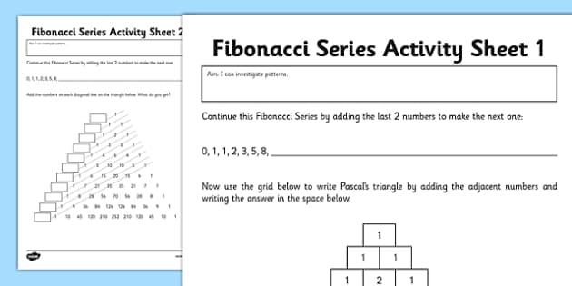 Fibonacci Numbers Activity Sheet - fibonacci, numbers, activity