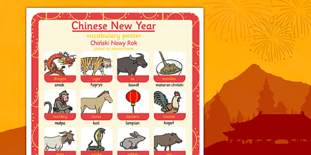 Chinese New Year Themed Vocabulary Poster Polish Translation - polish, chinese new year, vocabulary, poster, display