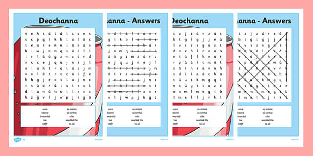 Bia Word Search Deochanna - irish, gaeilge, bia, food, word search, activity, food types, vocabulary