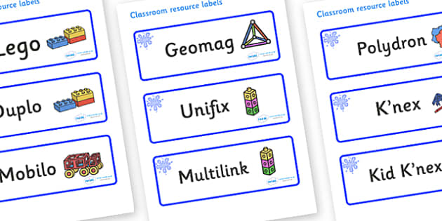 Blue Themed Editable Construction Area Resource Labels - Themed Construction resource labels, Label template, Resource Label, Name Labels, Editable Labels, Drawer Labels, KS1 Labels, Foundation Labels, Foundation Stage Labels
