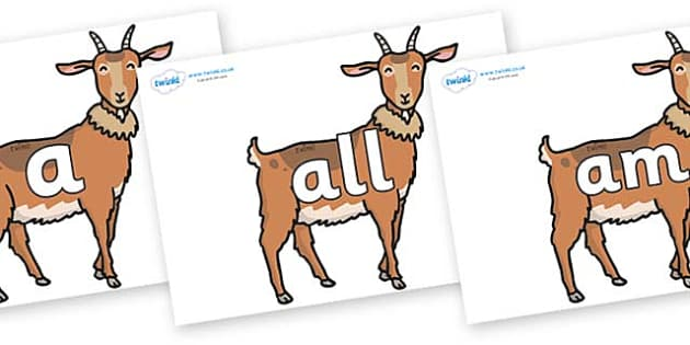 Foundation Stage 2 Keywords on Medium Billy Goats - FS2, CLL, keywords, Communication language and literacy,  Display, Key words, high frequency words, foundation stage literacy, DfES Letters and Sounds, Letters and Sounds, spelling
