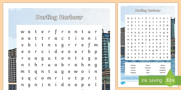 Darling Harbour Word Search-Australia - Sydney Australia, darling harbour, word search, find a word, activity, fun, spelling, vocabulary, fu