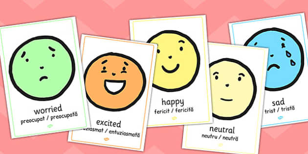 Emotion A4 Face Display Posters Romanian Translation - romanian