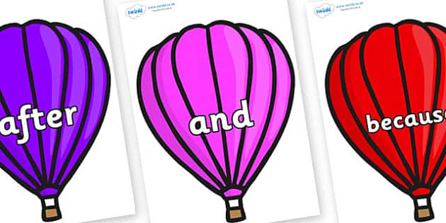 Connectives on Hot Air Balloons (Plain) - Connectives, VCOP, connective resources, connectives display words, connective displays