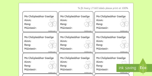 Irish Gaeilge Pupil Gaeilge Copybook Labels