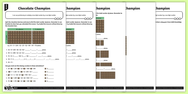 Using Partitioning to Multiply Activity Sheets - Y4 Multiplication and Division Planit Maths, multiply, groups of, lots of, product, times, sets of,