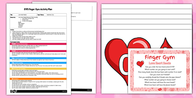 EYFS Love Heart Beads Finger Gym Plan and Resource Pack - Valentine, maths, hearts, beads