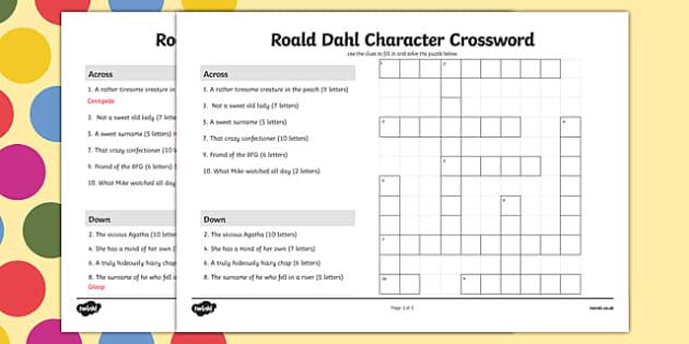 Roald Dahl Character Crossword