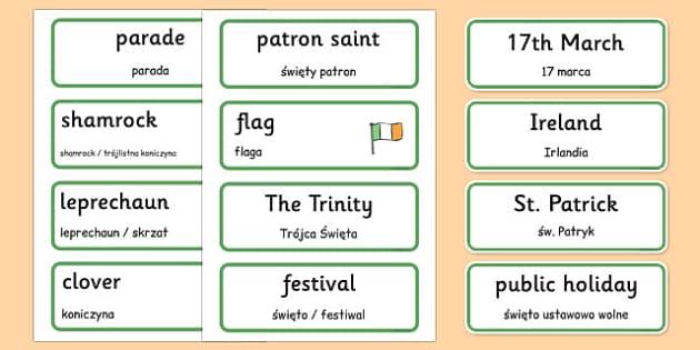 St. Patrick's Day Topic Word Cards Polish Translation - polish, Word cards, St Patricks Day, Word Card, flashcard, flashcards, Ireland, Irish, St Patrick, patron saint, leprechaun, 17 march