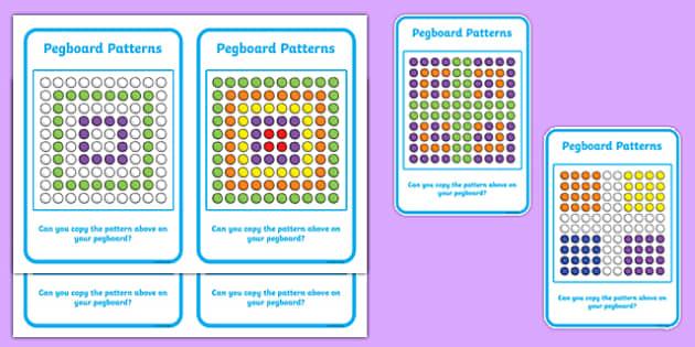Pegboard Pattern Cards - activity, activities, games, patterns