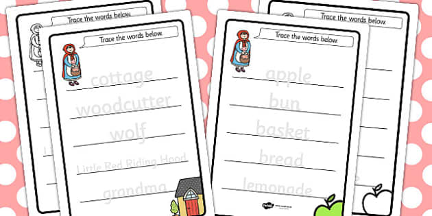Little Red Riding Hood Trace the Words Worksheets - worksheet
