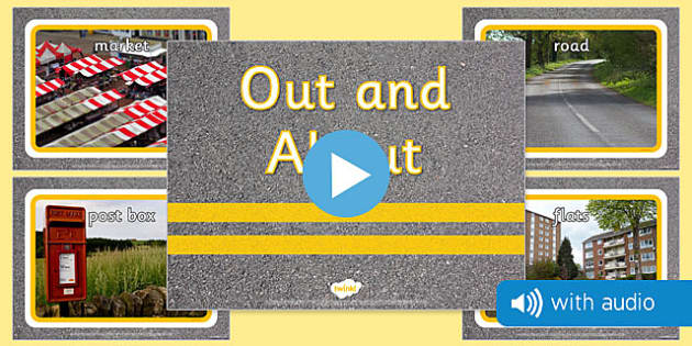 Out and About Audio Flashcards - sound, spoken, auditory,  early years, primary, inside, outside, public, school, home,