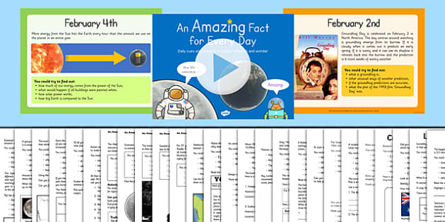 An Amazing Fact a Day February PowerPoint and Activity Sheet Pack, worksheet