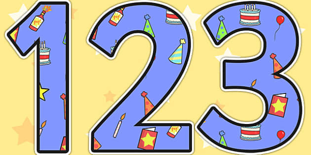 Birthday Themed Display Numbers 2 - birthday, numbers, display