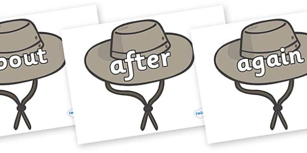 KS1 Keywords on Cowboy Hats - KS1, CLL, Communication language and literacy, Display, Key words, high frequency words, foundation stage literacy, DfES Letters and Sounds, Letters and Sounds, spelling