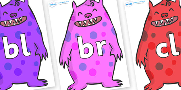 Initial Letter Blends on Monsters - Initial Letters, initial letter, letter blend, letter blends, consonant, consonants, digraph, trigraph, literacy, alphabet, letters, foundation stage literacy