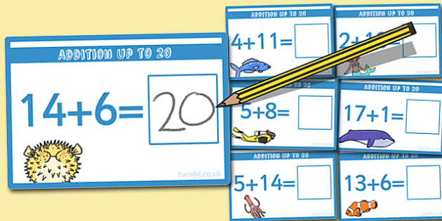 Addition up to 20 Cards - addition, cards, 20, up to 20, add