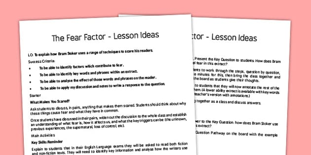 The Fear Factor Lesson Ideas - fear factor, fear, factor, lesson ideas, lesson, ideas