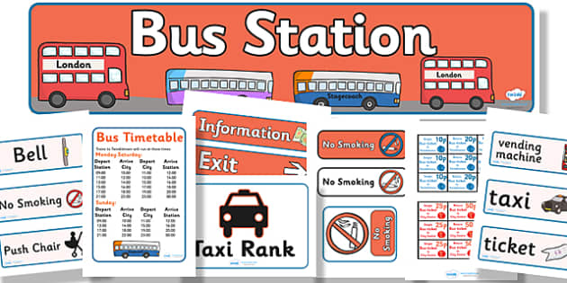 Bus Station Role Play Pack - Bus role play, transport, banner, role play, pack, display, A4 display, role play, buses, bus station, ticket