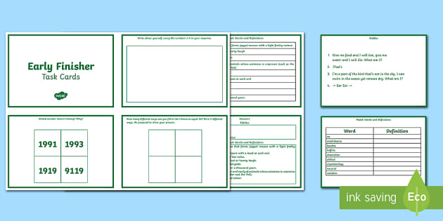 Early Finisher Task Cards Activity Sheet - Supply Teacher Survival Package, task, cards, extra work, math, worksheet, language, riddles, defini