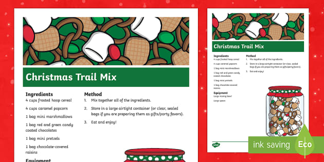 Christmas Trail Mix Classroom Recipe