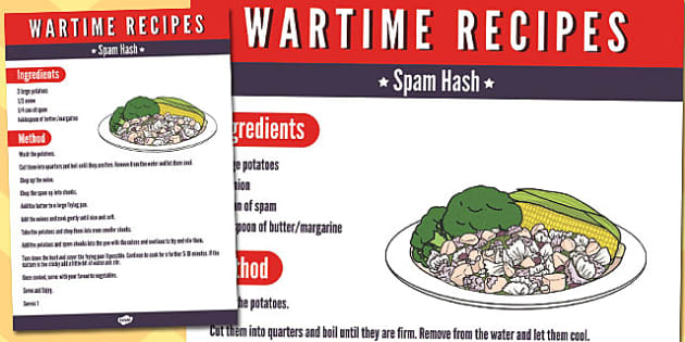 Wartime Spam Hash Recipe - wartime, recipe, spam hash, ration