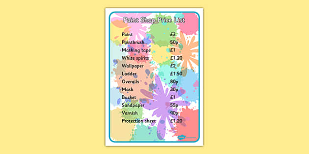Editable Paint Shop Role Play Price List - editable, paint shop, role play, price list