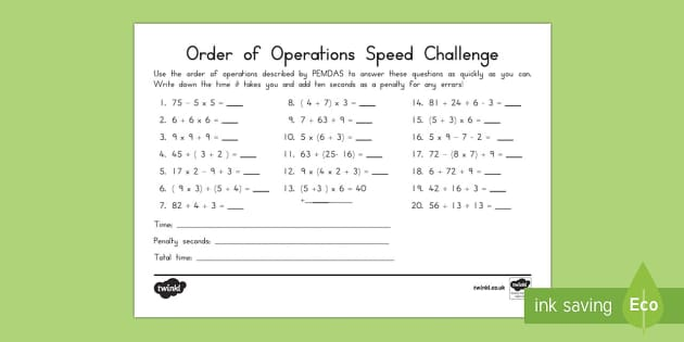 Order of Operations PEMDAS Speed Solving Activity