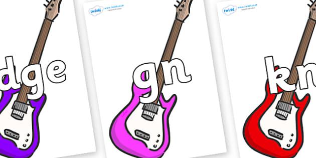 Silent Letters on Guitar - Silent Letters, silent letter, letter blend, consonant, consonants, digraph, trigraph, A-Z letters, literacy, alphabet, letters, alternative sounds