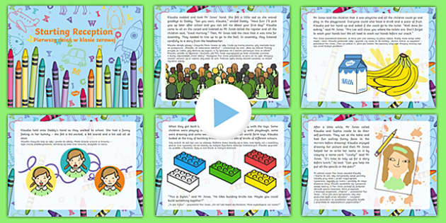 EYFS starting reception editable powerpoint story Polish Translation-Polish-translation