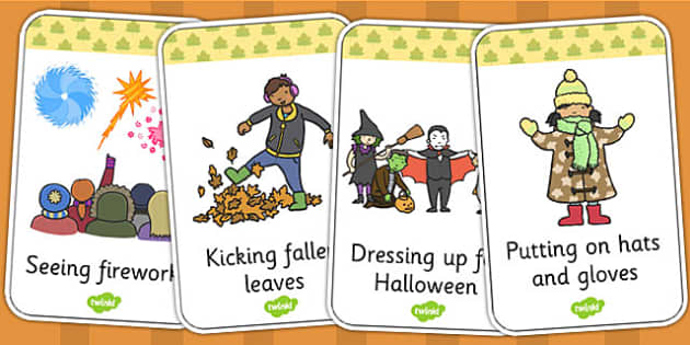 Look and Act Autumn Flashcards - Look, Act, Autumn, Flashcards