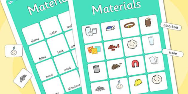 Materials Vocabulary Matching Mat - materials, vocabulary, matching mat, word mat, vocabulary mat, vocab mat, keyword, key word mat, materials mat