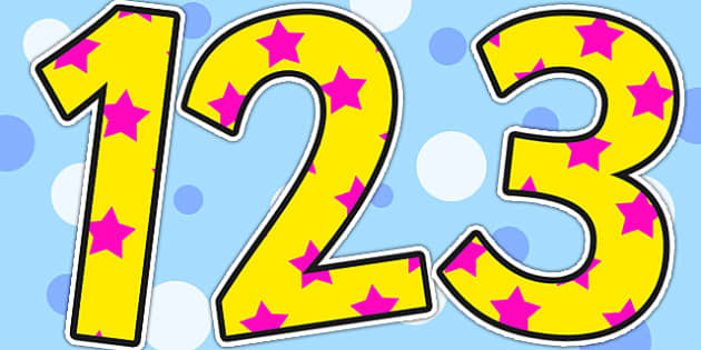 Yellow and Pink Stars Small Display Numbers - stars, numbers