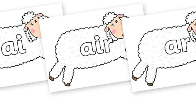 Phase 3 Phonemes on Hullabaloo Sheep to Support Teaching on Farmyard Hullabaloo - Phonemes, phoneme, Phase 3, Phase three, Foundation, Literacy, Letters and Sounds, DfES, display