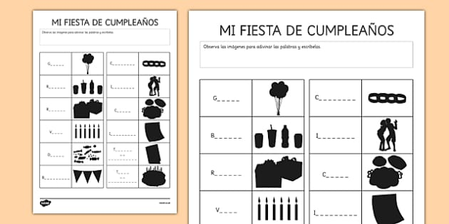 Ficha de sombras: Mi fiesta de cumpleaños - birthday, cumpleaños, vocabulario, party, fiesta, shadows, worksheet
