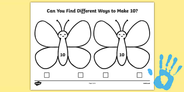 Butterfly Fingerprint Number Bonds to 10 Activity Sheet Pack - maths, ssm, shape space measure, painting activities, worksheet