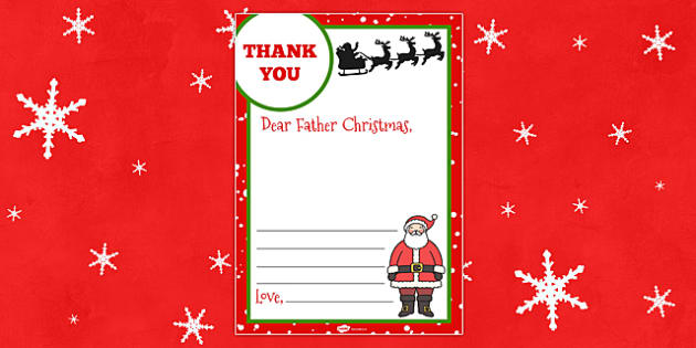 Thank You Letter to Father Christmas - thank you, letter, father christmas