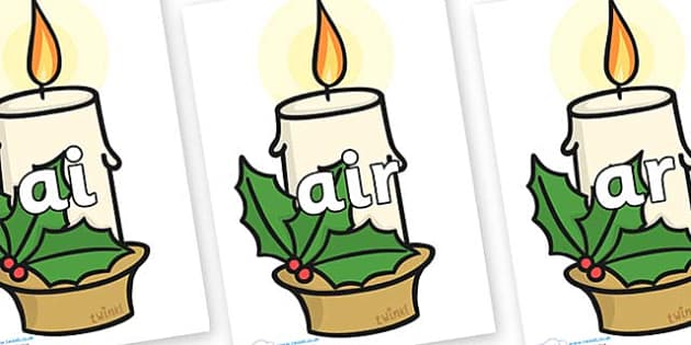 Phase 3 Phonemes on Christmas Candles - Phonemes, phoneme, Phase 3, Phase three, Foundation, Literacy, Letters and Sounds, DfES, display