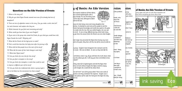 The Edo History of Benin Reading Comprehension Activity - ks2, ks2 history, packs