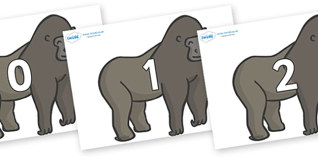 Numbers 0-100 on Gorillas - 0-100, foundation stage numeracy, Number recognition, Number flashcards, counting, number frieze, Display numbers, number posters