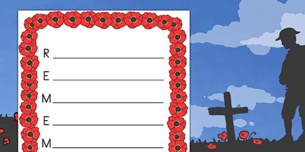 Remember Remembrance Day Acrostic Poem Template - australia