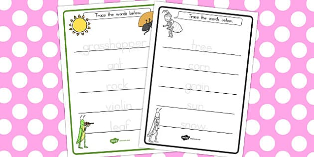 The Ant and the Grasshopper Trace the Words Worksheets - tracing