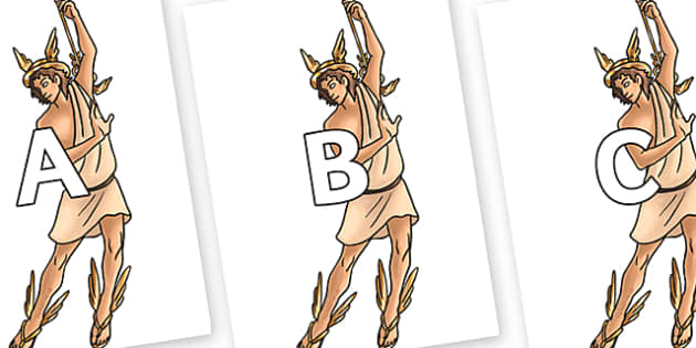 A-Z Alphabet on Hermes - A-Z, A4, display, Alphabet frieze, Display letters, Letter posters, A-Z letters, Alphabet flashcards